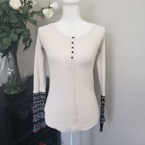 Free People Waffle Weave Printed Cuff Fitted Top